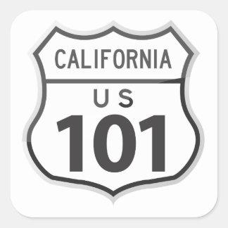 Kalifornien-Autoreise-Reise-Aufkleber Quadrat-Aufkleber