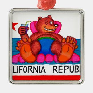 Kalifornien-Bärn-Fuß-Flagge Silbernes Ornament