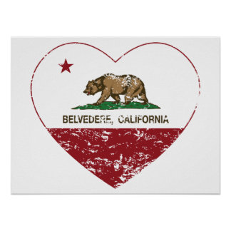 Kalifornien-Flagge Belvedereherz beunruhigt Poster