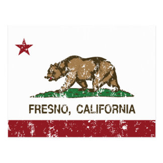 Kalifornien-Flagge Fresno A beunruhigt Postkarte