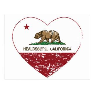 Kalifornien-Flagge healdsburg Herz beunruhigt Postkarte