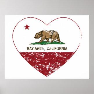 Kalifornien-Flaggenbucht-Bereichsherz beunruhigt Poster