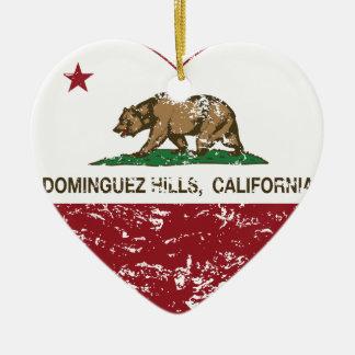 Kalifornien-Flaggendominguez-Hügelherz beunruhigt Weihnachtsornament