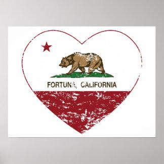 Kalifornien-Flaggenfortuna-Herz beunruhigt Poster