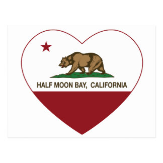 Kalifornien-Flaggenhalf moon bay Herz Postkarte