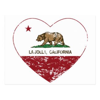 Kalifornien-Flaggenla- jollaherz beunruhigt Postkarte