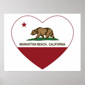 Kalifornien-Flaggenmanhattan- beachherz Poster