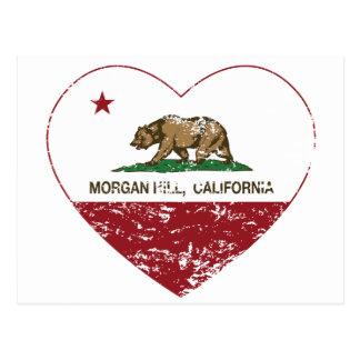 Kalifornien-Flaggenmorgan-Hügelherz beunruhigt Postkarte
