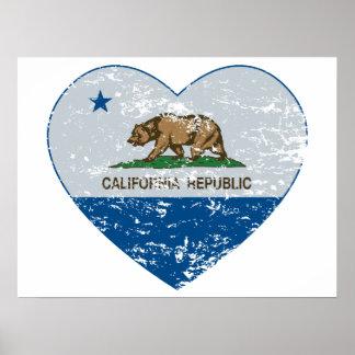 Kalifornien-Flaggenrepublikherzblau und -GRAU Poster