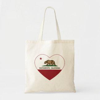 Kalifornien-Flaggensacramento-Herz Budget Stoffbeutel