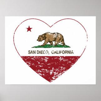 Kalifornien-Flaggensan diego Herz beunruhigt Poster