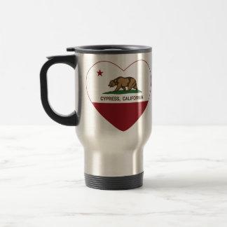 Kalifornien-Flaggenzypressenherz Reisebecher