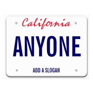 Kalifornien-Gewohnheits-Kfz-Kennzeichen Postkarte