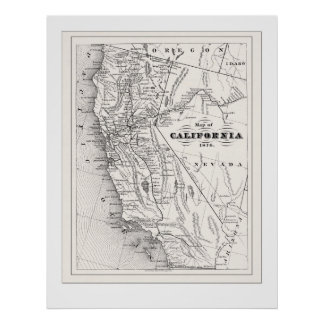 Kalifornien-Karte ab 1876 Poster