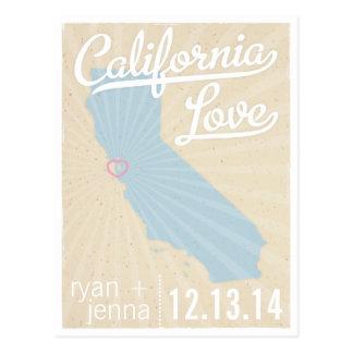 Kalifornien-Liebe-Save the Date Postkarte