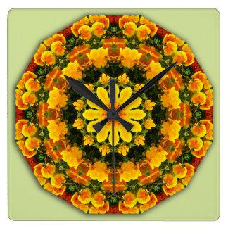 Kalifornien-Mohnblumen 02,2, Blume-Mandala Quadratische Wanduhr
