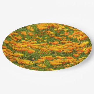 Kalifornien-Mohnblumen Pappteller