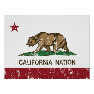 Kalifornien-Nations-Republik-Flagge Poster