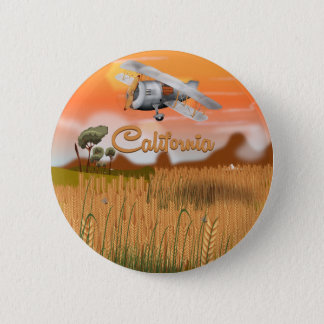 Kalifornien-Reise-Plakat-Cartoon Runder Button 5,1 Cm