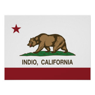 Kalifornien-Republik-Flagge Indio Poster