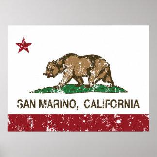 Kalifornien-Republik-Flagge San Marino Poster