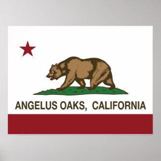 Kalifornien-Republik-Flaggeangelus-Eichen Poster