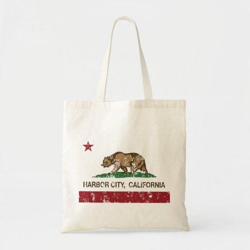Kalifornien-Republik-Flaggen-Hafen-Stadt Einkaufstasche