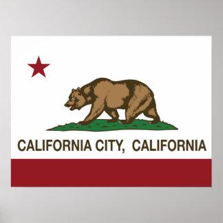 Kalifornien-Republik-Flaggen-Kalifornien-Stadt Poster