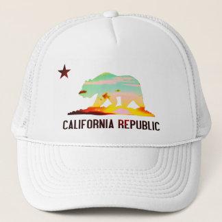 Kalifornien-Republik-Flaggen-Sonnenuntergang-Hut Truckerkappe