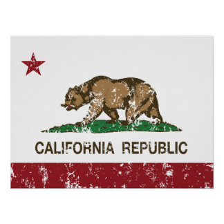 Kalifornien-Republik-Staats-Flagge Poster