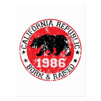 Kalifornien-Republikgeborenes angehoben 1986 Postkarte