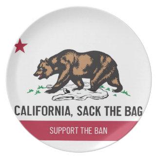 Kalifornien, schmeißen die Tasche raus Flacher Teller