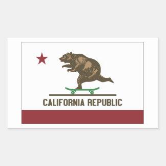 Kalifornien-Skateboard-Bär Rechteckiger Aufkleber