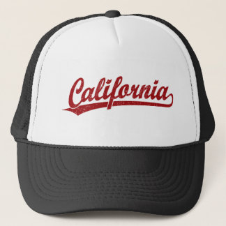 Kalifornien-Skriptlogo-Skriptlogo im Rot Truckerkappe