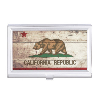 Kalifornien-Staats-Flagge auf altem hölzernem Korn Visitenkarten Dose