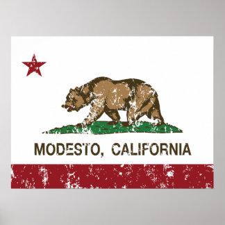 Kalifornien-Staats-Flagge Modesto Poster