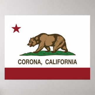 Kalifornien-Staats-Flaggen-Korona Poster