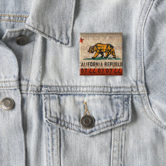 Kalifornien-Staats-Flaggen-Lizenz-Platten-Kunst Quadratischer Button 5,1 Cm
