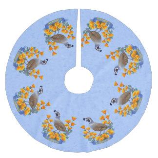 Kalifornien-Staats-Vogel-Wachteln u. goldene Polyester Weihnachtsbaumdecke