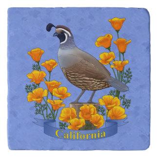 Kalifornien-Staats-Vogel-Wachteln u. goldene Töpfeuntersetzer