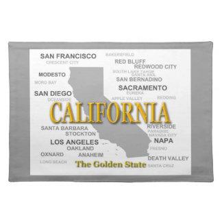 Kalifornien-Staatsstolz-Karten-Silhouette Tischset