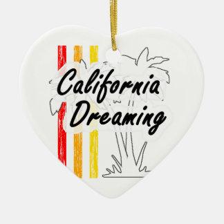 Kalifornien-Träumen Keramik Herz-Ornament