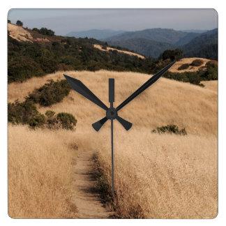 Kalifornien-Vorberghinteruhr Quadratische Wanduhr
