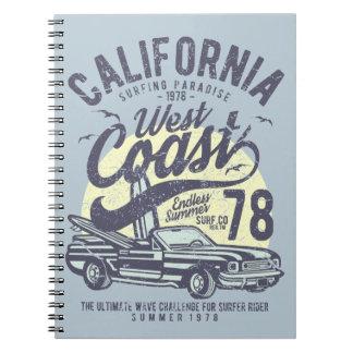 Kalifornienwestküsten-surfender Paradies-Sommer Notizblock
