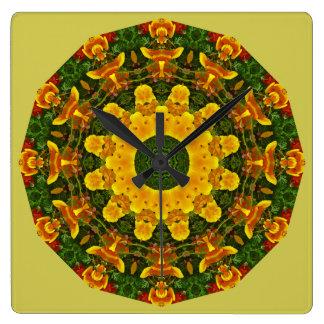 Kalifornische Mohnblumen-Natur, Blume-Mandala 003 Quadratische Wanduhr