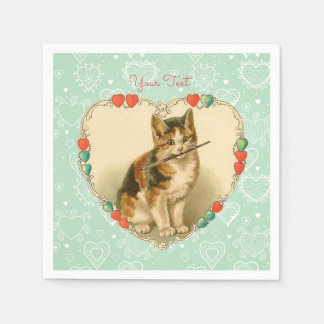 Kaliko-Kätzchen-Valentinsgruß-Herzen Papierserviette