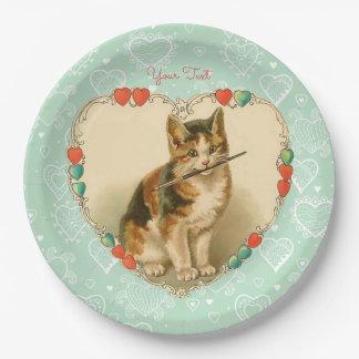 Kaliko-Kätzchen-Valentinsgruß-Herzen Pappteller