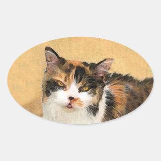 Kaliko-Katzen-Malerei - niedliche ursprüngliche Ovaler Aufkleber