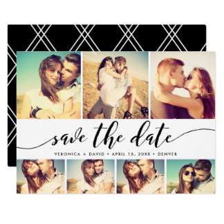 Kalligraphie Save the Date 7 Foto-Gitter-Collage Karte