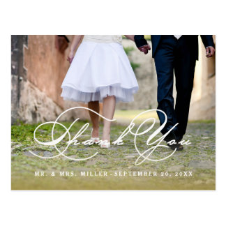 Kalligraphie-Skript-Hochzeit danken Ihnen Postkarte